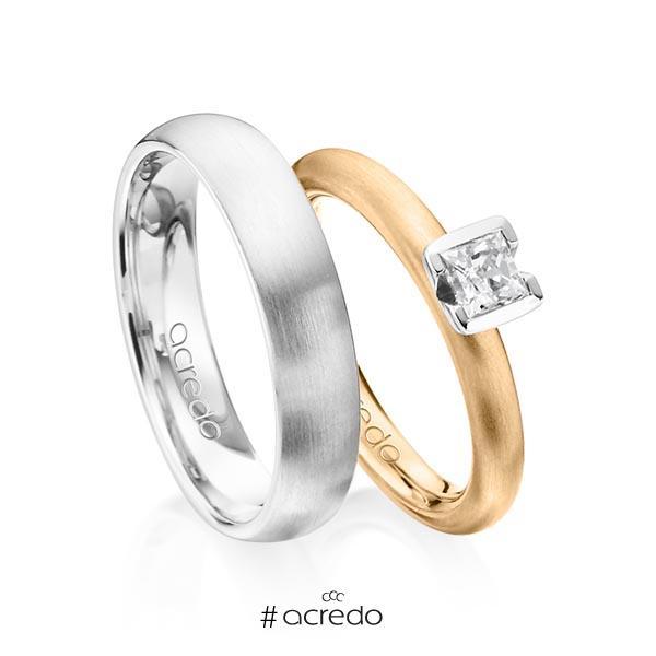 Paar klassische Trauringe/Eheringe in Roségold 585 mit 0,4 ct. Prinzess-Diamant tw, vs von acredo