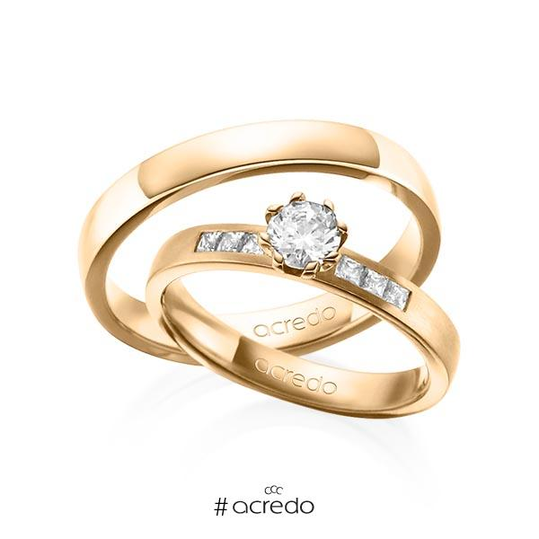 Paar klassische Trauringe/Eheringe in Roségold 585 mit 0,4 ct. + zus. 0,18 ct. Brillant & Prinzess-Diamant tw, vs tw, si von acredo