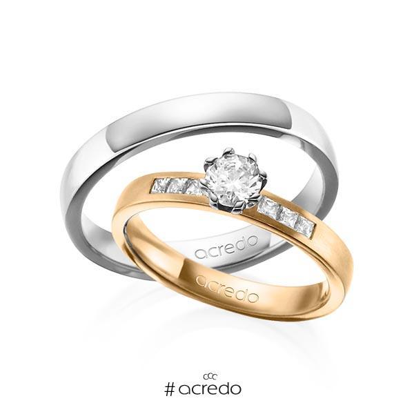 Paar klassische Trauringe/Eheringe in Roségold 585 mit 0,4 ct. + zus. 0,18 ct. Prinzess-Diamant & Brillant tw, si tw, vs von acredo