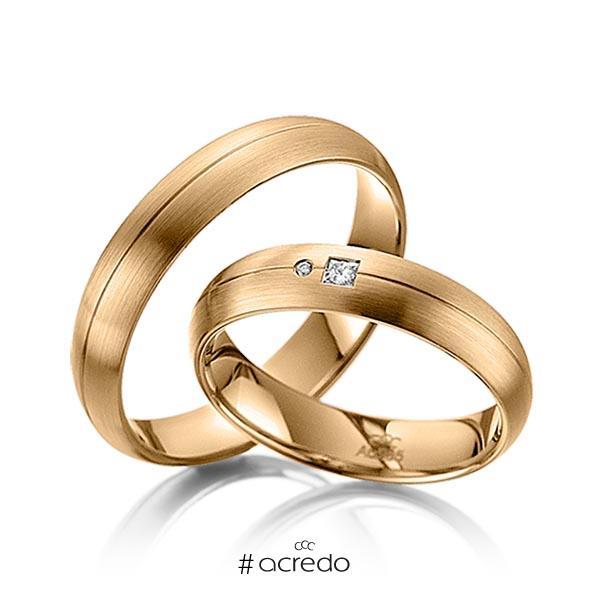 Paar klassische Trauringe/Eheringe in Roségold 585 mit zus. 0,035 ct. Prinzess-Diamant & Brillant tw, si von acredo