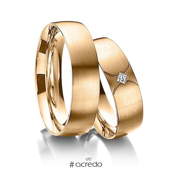 Paar klassische Trauringe/Eheringe in Roségold 585 mit zus. 0,04 ct. Prinzess-Diamant tw, si von acredo