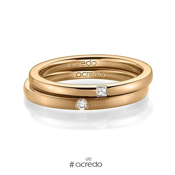 Paar klassische Trauringe/Eheringe in Roségold 585 mit zus. 0,055 ct. Prinzess-Diamant & Brillant tw, si von acredo