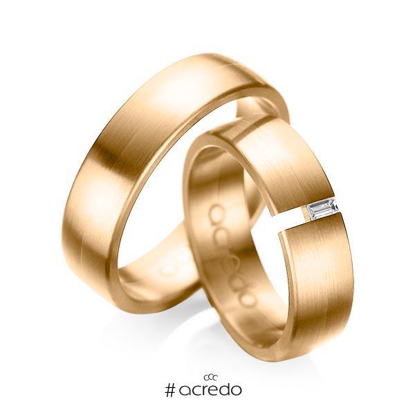 Paar klassische Trauringe/Eheringe in Roségold 585 mit zus. 0,05 ct. Baguette-Diamant tw, vs von acredo
