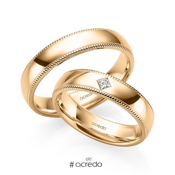 Paar klassische Trauringe/Eheringe in Roségold 585 mit zus. 0,05 ct. Prinzess-Diamant tw, si von acredo