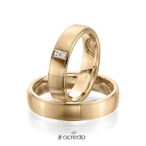 Paar klassische Trauringe/Eheringe in Roségold 585 mit zus. 0,06 ct. Prinzess-Diamant tw, si von acredo