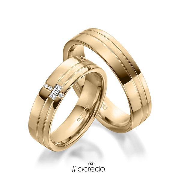 Paar klassische Trauringe/Eheringe in Roségold 585 mit zus. 0,074 ct. Baguette-Diamant & Brillant tw, vs tw, si von acredo