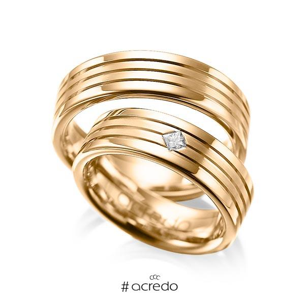 Paar klassische Trauringe/Eheringe in Roségold 585 mit zus. 0,08 ct. Prinzess-Diamant tw, si von acredo