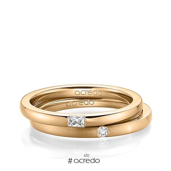 Paar klassische Trauringe/Eheringe in Roségold 585 mit zus. 0,095 ct. Baguette-Diamant & Brillant tw, vs tw, si von acredo