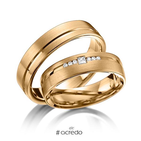 Paar klassische Trauringe/Eheringe in Roségold 585 mit zus. 0,098 ct. Brillant & Prinzess-Diamant tw, si von acredo