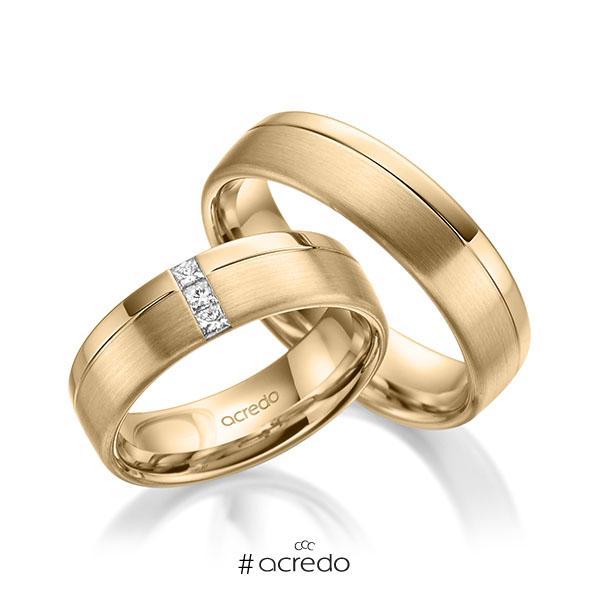 Paar klassische Trauringe/Eheringe in Roségold 585 mit zus. 0,12 ct. Prinzess-Diamant tw, si von acredo