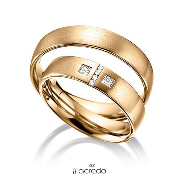 Paar klassische Trauringe/Eheringe in Roségold 585 mit zus. 0,132 ct. Brillant & Prinzess-Diamant tw, si von acredo
