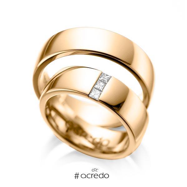 Paar klassische Trauringe/Eheringe in Roségold 585 mit zus. 0,15 ct. Prinzess-Diamant tw, si von acredo