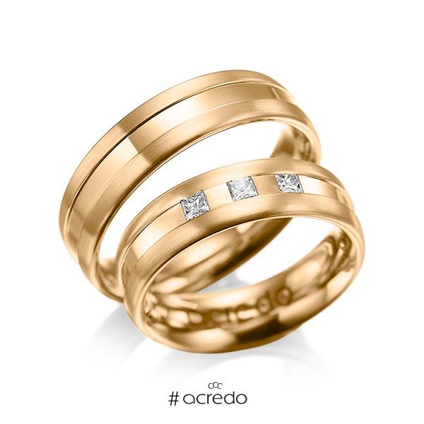 Paar klassische Trauringe/Eheringe in Roségold 585 mit zus. 0,18 ct. Prinzess-Diamant tw, si von acredo