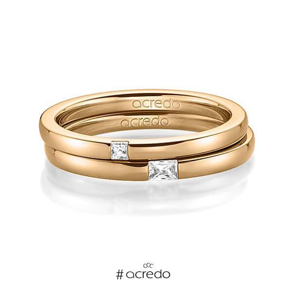Paar klassische Trauringe/Eheringe in Roségold 585 mit zus. 0,1 ct. Prinzess-Diamant & Baguette-Diamant tw, si tw, vs von acredo