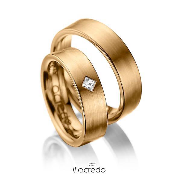 Paar klassische Trauringe/Eheringe in Roségold 585 mit zus. 0,1 ct. Prinzess-Diamant tw, si von acredo