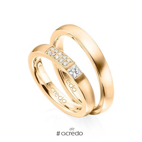 Paar klassische Trauringe/Eheringe in Roségold 585 mit zus. 0,25 ct. Prinzess-Diamant & Brillant tw, si von acredo