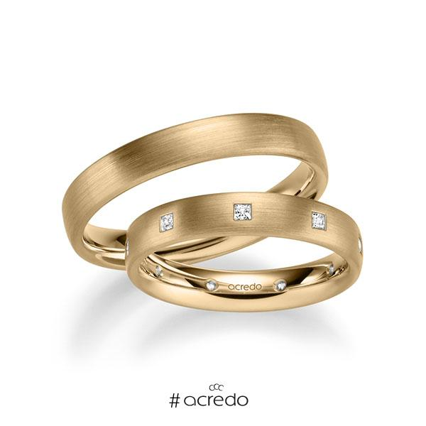 Paar klassische Trauringe/Eheringe in Roségold 585 mit zus. 0,27 ct. Prinzess-Diamant tw, si von acredo