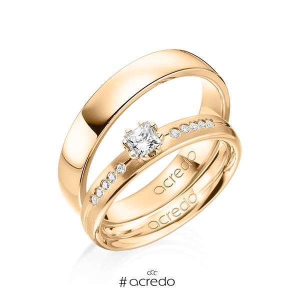 Paar klassische Trauringe/Eheringe in Roségold 585 mit zus. 0,33 ct. Prinzess-Diamant & Brillant tw, si von acredo