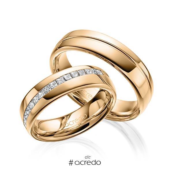 Paar klassische Trauringe/Eheringe in Roségold 585 mit zus. 0,48 ct. Prinzess-Diamant tw, vs von acredo