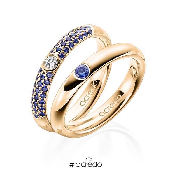 Paar klassische Trauringe/Eheringe in Roségold 585 mit zus. 0,496 ct. Brillant Saphir Blau (A 10) tw, si von acredo
