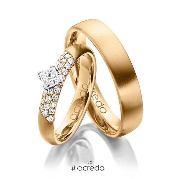 Paar klassische Trauringe/Eheringe in Roségold 585 mit zus. 0,52 ct. Brillant & Prinzess-Diamant tw, si von acredo