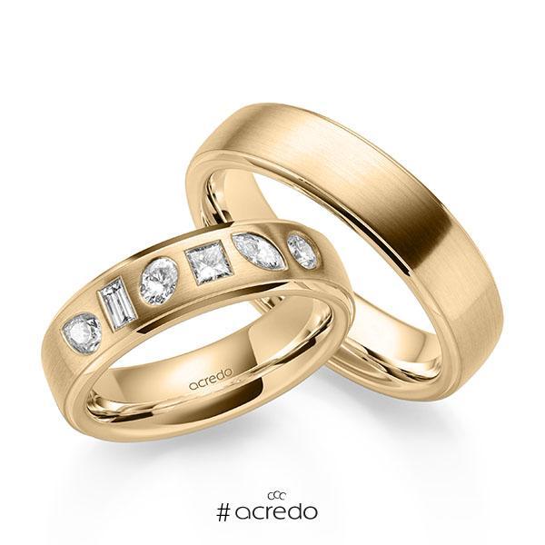 Paar klassische Trauringe/Eheringe in Roségold 585 mit zus. 0,64 ct. Baguette-Diamant & Prinzess-Diamant & Brillant tw, vs tw, si von acredo