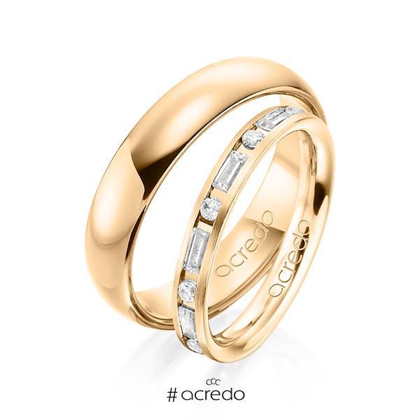 Paar klassische Trauringe/Eheringe in Roségold 585 mit zus. 0,765 ct. Brillant & Baguette-Diamant tw, si tw, vs von acredo