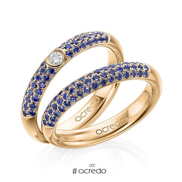 Paar klassische Trauringe/Eheringe in Roségold 585 mit zus. 0,808 ct. Brillant Saphir Blau (A 10) tw, si Saphir Hellblau (A 6) von acredo