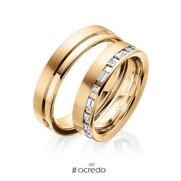 Paar klassische Trauringe/Eheringe in Roségold 585 mit zus. 0,9 ct. Prinzess-Diamant & Baguette-Diamant tw, si tw, vs von acredo
