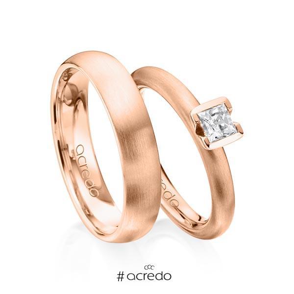 Paar klassische Trauringe/Eheringe in Rotgold 585 mit 0,4 ct. Prinzess-Diamant tw, vs von acredo