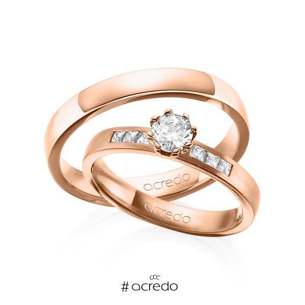 Paar klassische Trauringe/Eheringe in Rotgold 585 mit 0,4 ct. + zus. 0,18 ct. Brillant & Prinzess-Diamant tw, vs tw, si von acredo