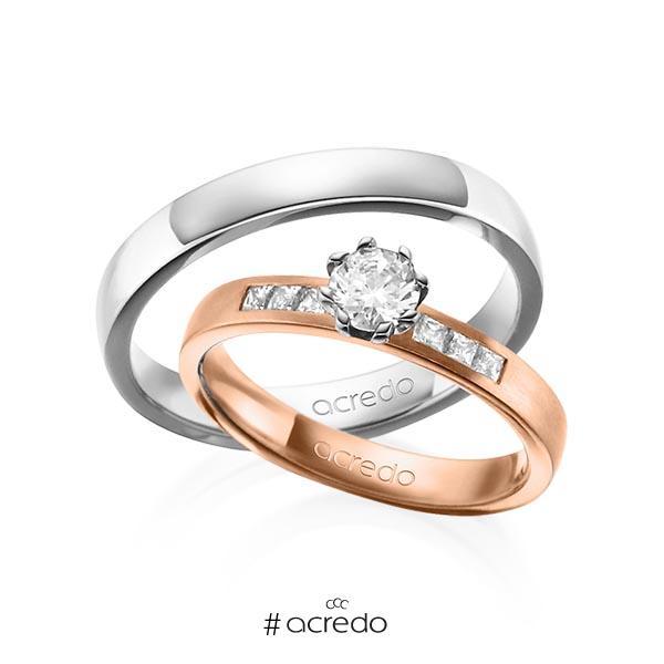 Paar klassische Trauringe/Eheringe in Rotgold 585 mit 0,4 ct. + zus. 0,18 ct. Prinzess-Diamant & Brillant tw, si tw, vs von acredo