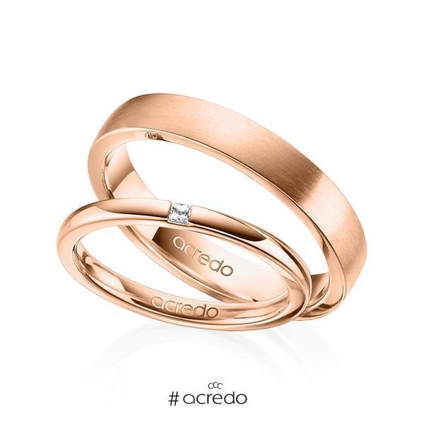 Paar klassische Trauringe/Eheringe in Rotgold 585 mit zus. 0,03 ct. Prinzess-Diamant tw, si von acredo
