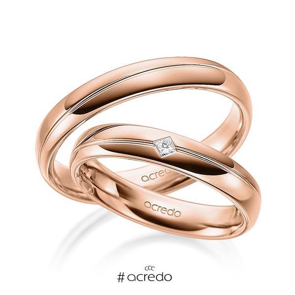 Paar klassische Trauringe/Eheringe in Rotgold 585 mit zus. 0,04 ct. Prinzess-Diamant tw, si von acredo