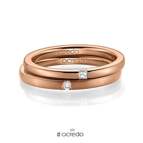 Paar klassische Trauringe/Eheringe in Rotgold 585 mit zus. 0,055 ct. Prinzess-Diamant & Brillant tw, si von acredo