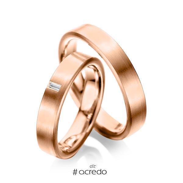 Paar klassische Trauringe/Eheringe in Rotgold 585 mit zus. 0,05 ct. Baguette-Diamant tw, vs von acredo