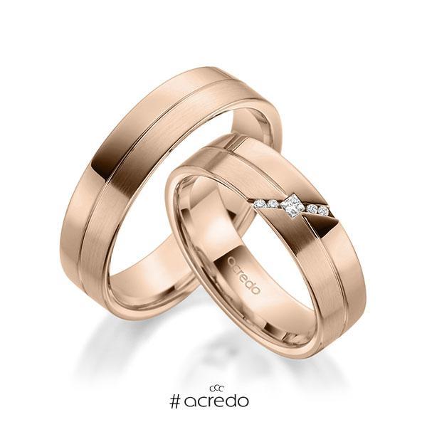 Paar klassische Trauringe/Eheringe in Rotgold 585 mit zus. 0,05 ct. Prinzess-Diamant & Brillant tw, si von acredo