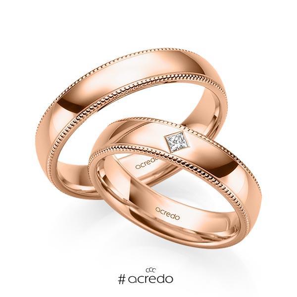 Paar klassische Trauringe/Eheringe in Rotgold 585 mit zus. 0,05 ct. Prinzess-Diamant tw, si von acredo