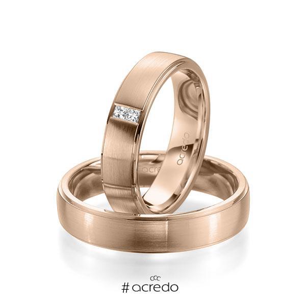 Paar klassische Trauringe/Eheringe in Rotgold 585 mit zus. 0,06 ct. Prinzess-Diamant tw, si von acredo