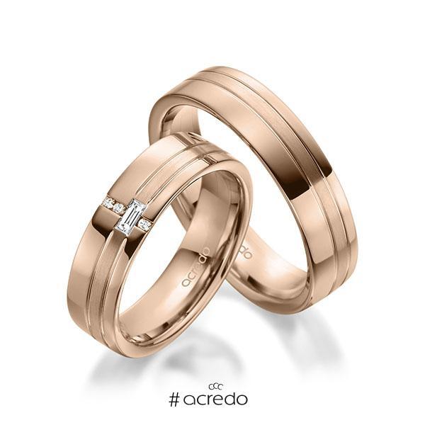 Paar klassische Trauringe/Eheringe in Rotgold 585 mit zus. 0,074 ct. Baguette-Diamant & Brillant tw, vs tw, si von acredo