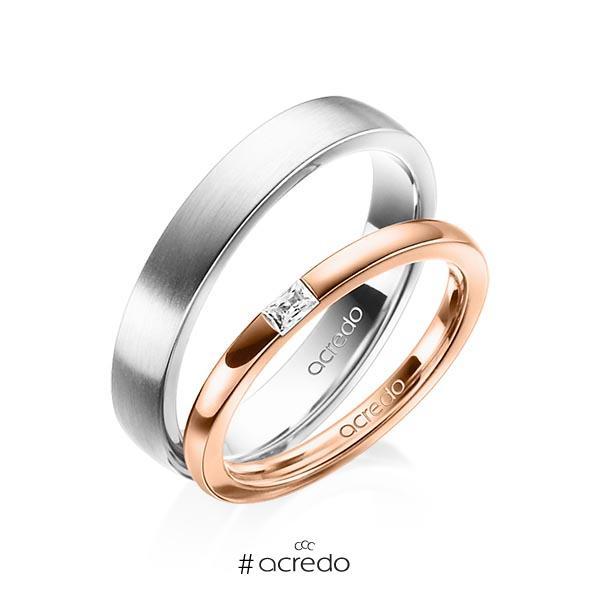 Paar klassische Trauringe/Eheringe in Rotgold 585 mit zus. 0,07 ct. Baguette-Diamant tw, vs von acredo