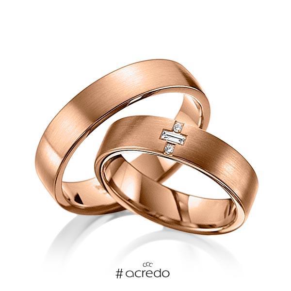 Paar klassische Trauringe/Eheringe in Rotgold 585 mit zus. 0,07 ct. Brillant & Baguette-Diamant tw, vs von acredo