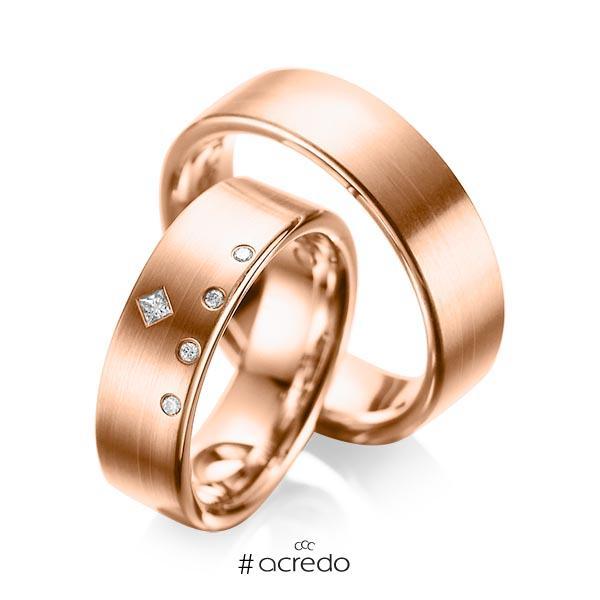 Paar klassische Trauringe/Eheringe in Rotgold 585 mit zus. 0,07 ct. Brillant & Prinzess-Diamant tw, si tw, vs von acredo