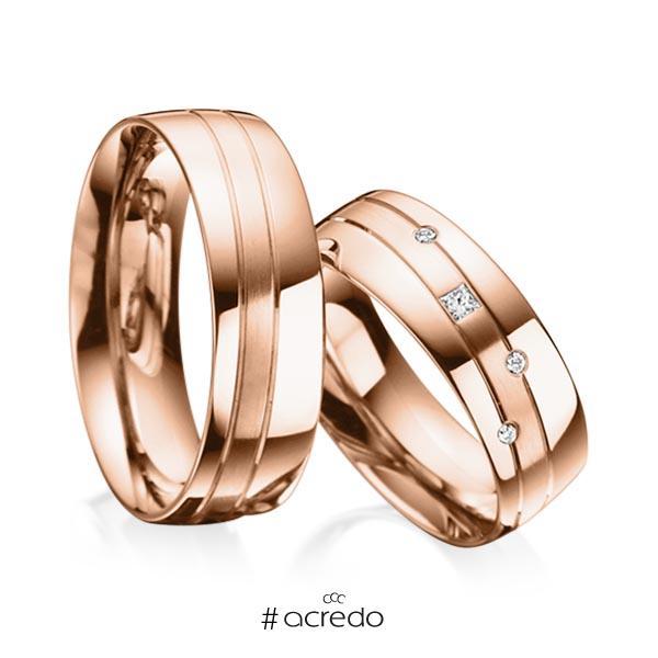 Paar klassische Trauringe/Eheringe in Rotgold 585 mit zus. 0,07 ct. Prinzess-Diamant & Brillant tw, si von acredo