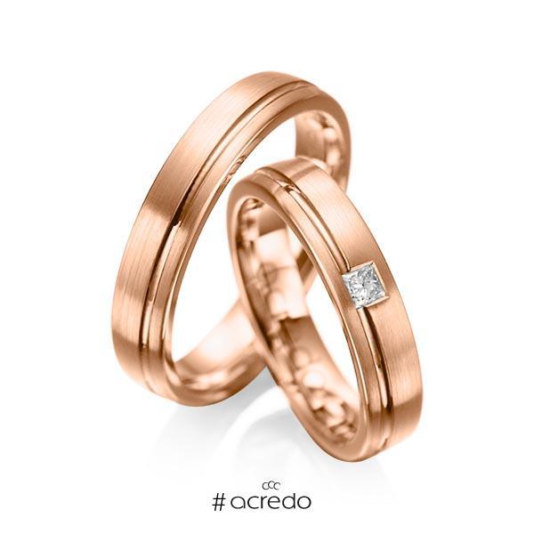 Paar klassische Trauringe/Eheringe in Rotgold 585 mit zus. 0,08 ct. Prinzess-Diamant tw, si von acredo