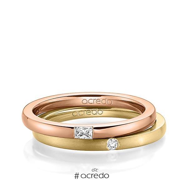 Paar klassische Trauringe/Eheringe in Rotgold 585 mit zus. 0,095 ct. Baguette-Diamant & Brillant tw, vs tw, si von acredo