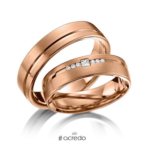 Paar klassische Trauringe/Eheringe in Rotgold 585 mit zus. 0,098 ct. Brillant & Prinzess-Diamant tw, si von acredo
