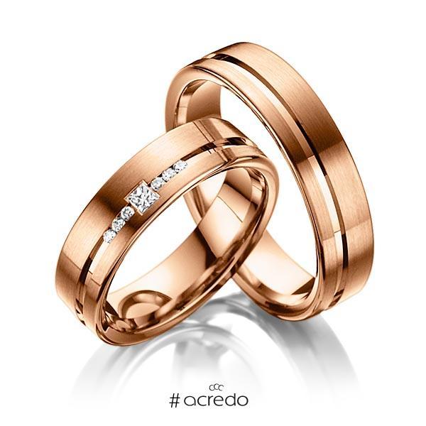 Paar klassische Trauringe/Eheringe in Rotgold 585 mit zus. 0,098 ct. Prinzess-Diamant & Brillant tw, si von acredo