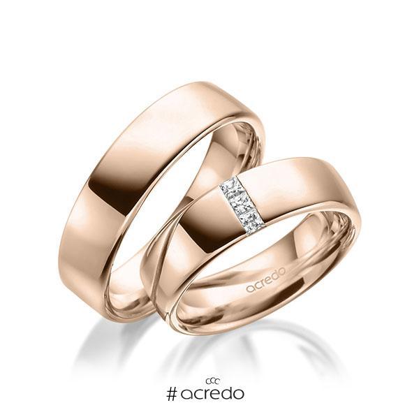 Paar klassische Trauringe/Eheringe in Rotgold 585 mit zus. 0,12 ct. Prinzess-Diamant tw, si von acredo
