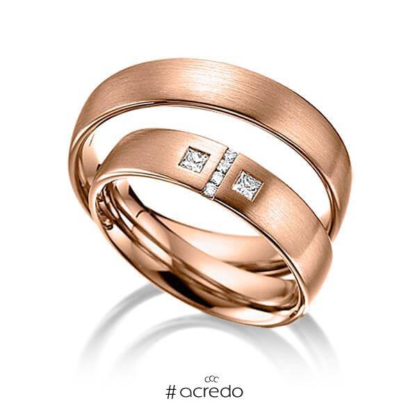 Paar klassische Trauringe/Eheringe in Rotgold 585 mit zus. 0,132 ct. Brillant & Prinzess-Diamant tw, si von acredo